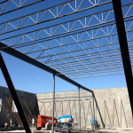 Begining of erection of structural steel fabricated by steel fabricators in Surrey