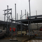 Early stage of installation of structural steel